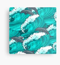 Sea waves with dolphins Metal Print