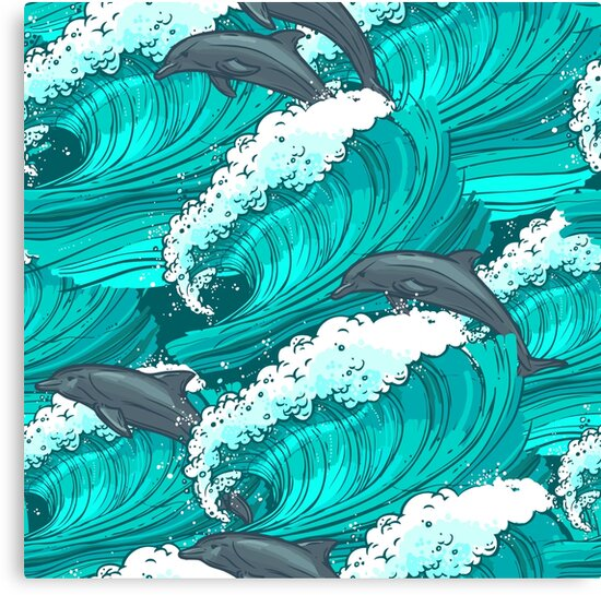 Sea waves with dolphins by Zero81
