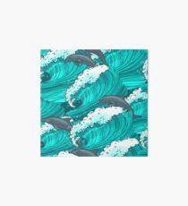 Sea waves with dolphins Art Board