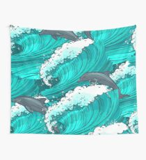 Sea waves with dolphins Wall Tapestry
