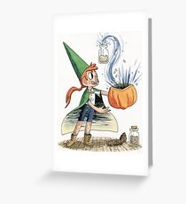Boy Wizard Collecting Ingredients  Greeting Card