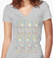 Retro Triangles Women's Fitted V-Neck T-Shirt