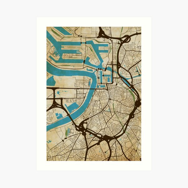 Antwerp Map (grunge) Art Print