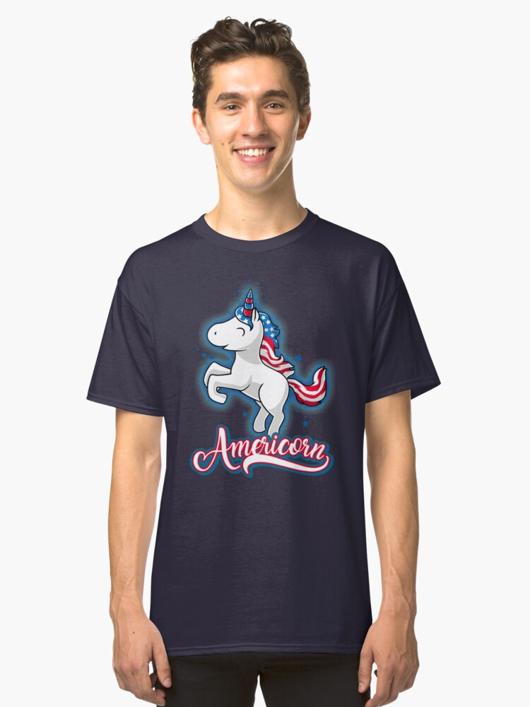 Americorn-Patriotic Proud American Unicorn Kids Gift Classic T-Shirt Front