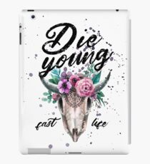 Die Young Live Fast Floral Skull iPad Case/Skin