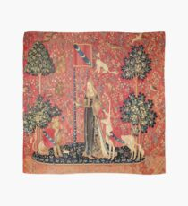 LADY AND UNICORN ,TOUCH ,Lion,Fantasy Flowers,Animals Red Green Floral Scarf