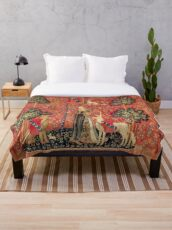 LADY AND UNICORN ,TOUCH ,Lion,Fantasy Flowers,Animals Red Green Floral Throw Blanket