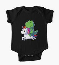 Dinosaur riding Unicorn tshirt - Funny Unicorn Shirt for girls - Gifts for Kids One Piece - Short Sleeve