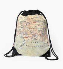 Vintage Map of Cannes France (1921) Drawstring Bag