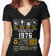 Camiseta entallada de cuello en V Ideas de regalos de cumpleaños - Nacido en 1976