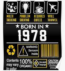 Birthday Gift Ideas - Born In 1978 Poster