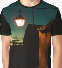 Evening time in old french city Vezelay. Light of old-styled street lantern Graphic T-Shirt