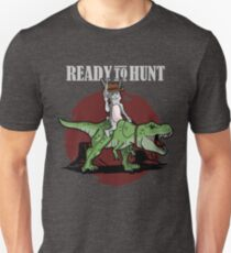 Ready to Hunt - Cowboy Easter Bunny riding a T-Rex Unisex T-Shirt