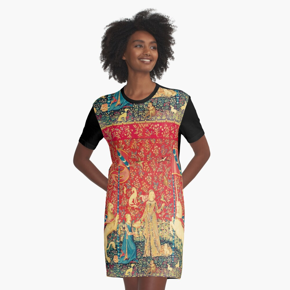 LADY AND UNICORN Taste, Red Green Fantasy Flowers,Animals Graphic T-Shirt Dress Front