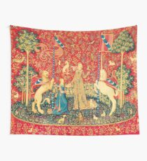 LADY AND UNICORN Taste, Red Green Fantasy Flowers,Animals Tapestry