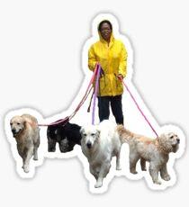 Oprah Walking Dogs Sticker