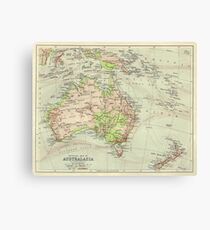 Vintage Map Of Astralasia 1920s Canvas Print