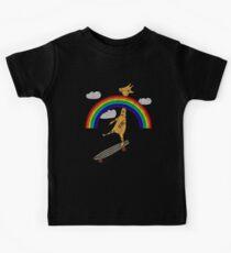 Vintage Rainbow Skateboard Novelty Giraffe TShirt Kids Tee