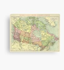 Vintage Map Of Canada 1920s (2) Canvas Print