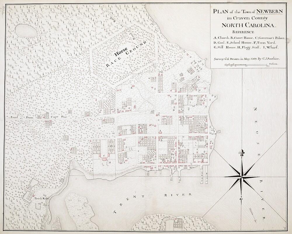 Vintage Map Of New Bern Nc 1769 By Bravuramedia Redbubble