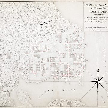 Vintage Map of New Bern NC (1769) by BravuraMedia