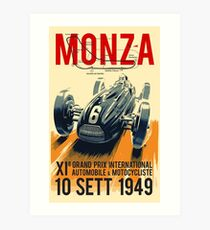 MONZA GRAND PRIX; Vintage Auto Racing Print Art Print