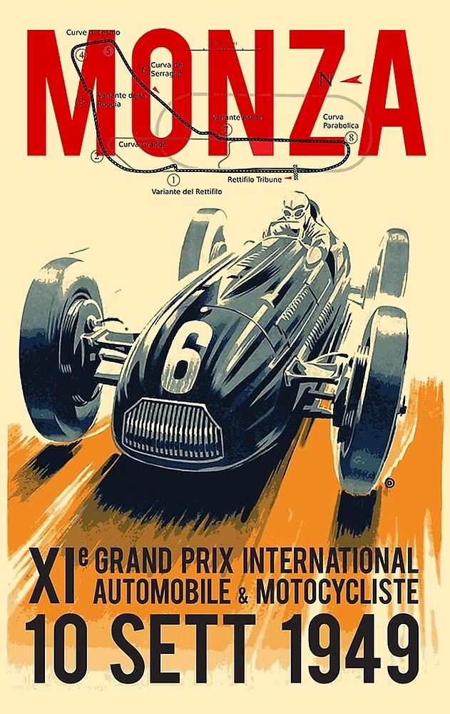 MONZA GRAND PRIX; Vintage Auto Racing Print by posterbobs