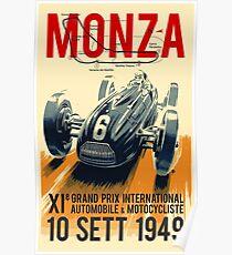 MONZA GRAND PRIX; Vintage Auto Racing Print Poster