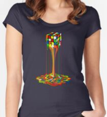 Rainbow melted rubiks cube Abstract Women's Fitted Scoop T-Shirt