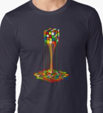 Rainbow melted rubiks cube Abstract Long Sleeve T-Shirt