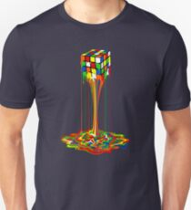 Rainbow melted rubiks cube Abstract Unisex T-Shirt