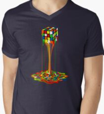 Rainbow melted rubiks cube Abstract Men's V-Neck T-Shirt