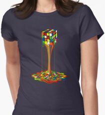 Rainbow melted rubiks cube Abstract Women's Fitted T-Shirt