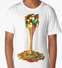Rainbow melted rubiks cube Abstract Long T-Shirt