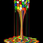Rainbow melted rubiks cube Abstract by ADZKIYYA DESIGN