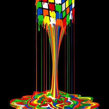 Rainbow melted rubiks cube Abstract by GreenLight08