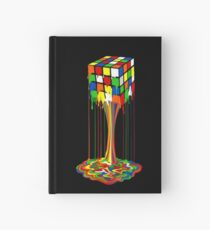 Rainbow melted rubiks cube Abstract Hardcover Journal