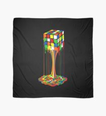 Rainbow melted rubiks cube Abstract Scarf