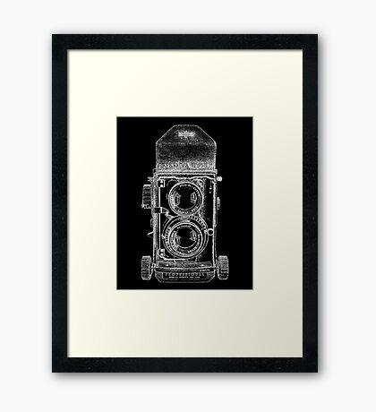 Mamiya C220 with White Outline Framed Print