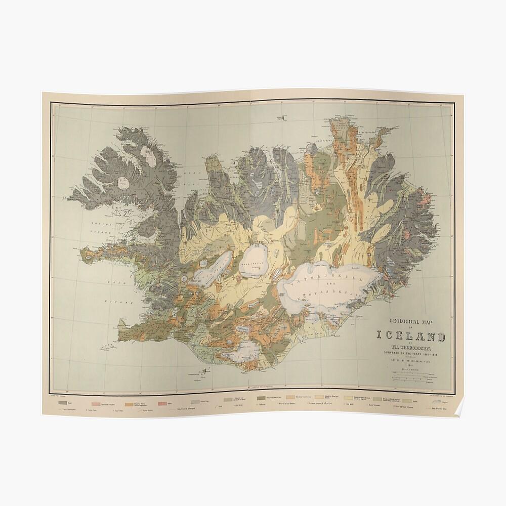 Vintage Geological Map of Iceland (1901) Poster