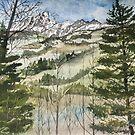 Mountains landscape painting art print by derekmccrea