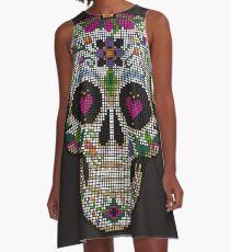 Create a Real Stitchery on Black - Pixel Art - Day of the Dead, Cinco de Mayo, Calavera, Dia de los Muertos - Sugar Skull - Candy Skull Make Up Face Paint Design A-Line Dress