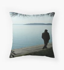 Out of season on the lakeside at Passignano sul Trasimeno, Umbria, central Italy Throw Pillow