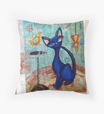 Mid Century Modern Cat in Black and Blue digital version Throw Pillow