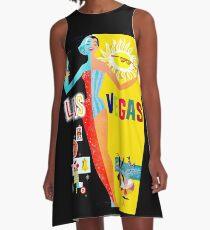 LAS VEGAS : Vintage Advertising Tourism Print A-Line Dress