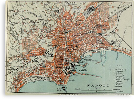 Vintage Map of Naples Italy (1911)\