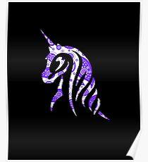 Purple Paisley Unicorn - Cowgirl Pattern Poster
