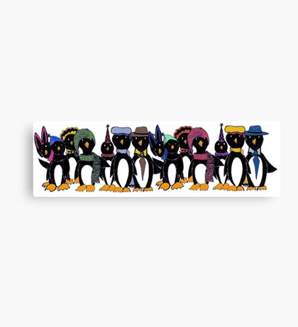 Penguin hat parade Canvas Print