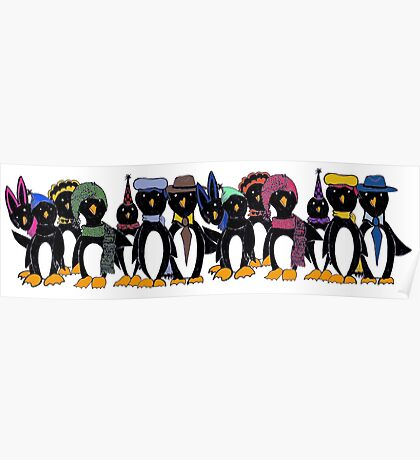 Penguin hat parade Poster