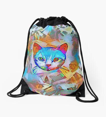 White cat Drawstring Bag